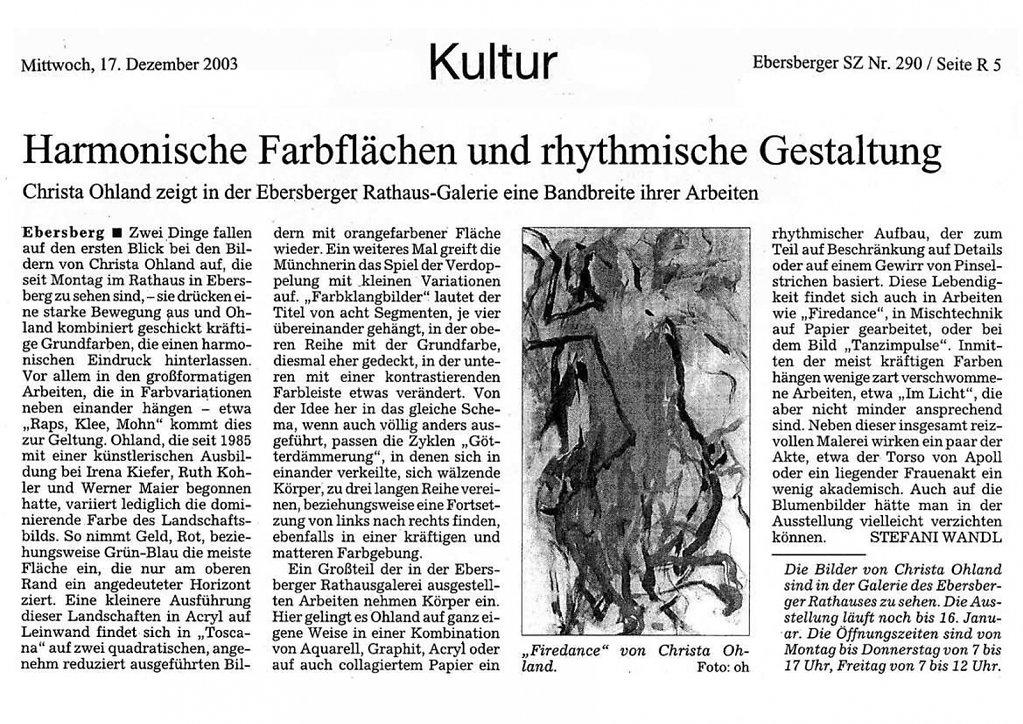 Süddeutsche Zeitung 17. Dezember 2003