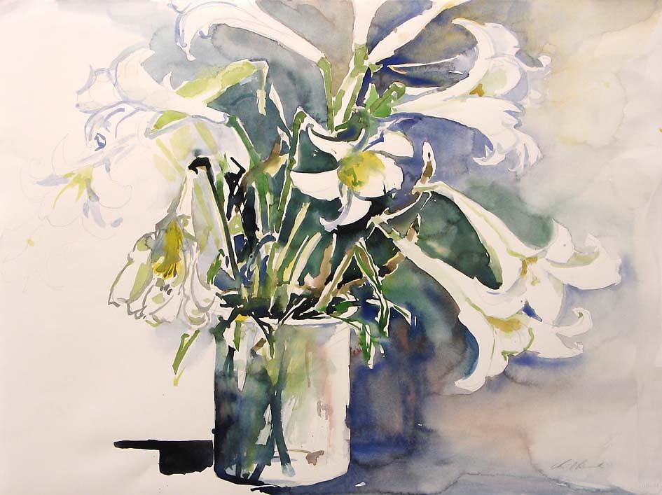 Weiße Lilien in Vase